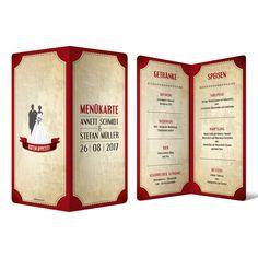 Menükarten zur Hochzeit - Vintage Brautpaar in Rot #menükarte #hochzeit #getränke #essen #speisen #drinks #mahlzeit #food #wedding #vintage #brautpaar #rot