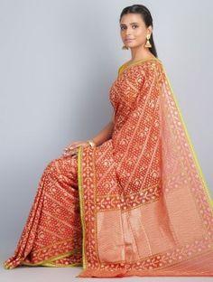Red-Green Cotton Banarasi Saree by Ghanshyam Sarode