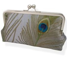 Embroidered Peacock Feather Silk Clutch