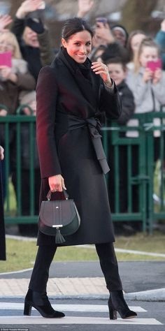 Meghan Markle threw out the royal rule book as she donned a pair of black skinny jeans during her visit to Cardiff