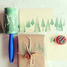 make your own custom wrapping paper with a lint roller.
