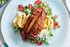Soy-marinated salmon with fried rice