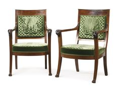 A pair of Consulat mahogany fauteuils circa 1805 height 35 1/2 in. 90 cm. Estimate  10,000 — 15,000  USD  LOT SOLD. 22,500 USD