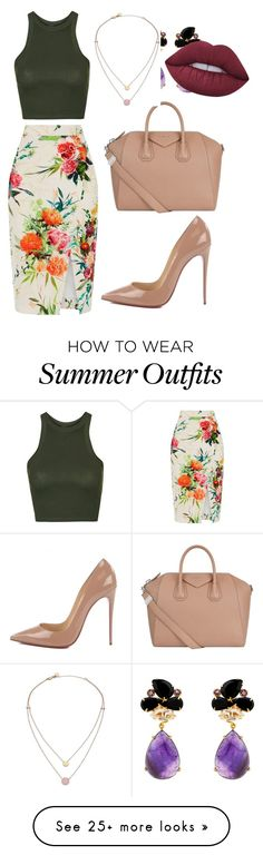 """""""My First Polyvore Outfit"""" by mshudson24 on Polyvore featuring Oasis, Topshop, Christian Louboutin, Givenchy, Michael Kors and Lime Crime"""
