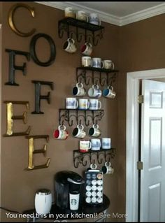 Coffee Bar Ideas - Looking for some coffee bar ideas? Here you'll find home coffee bar, DIY coffee bar, and kitchen coffee station. Coffee Nook, Coffee Bar Home, Home Coffee Stations, Coffee Corner, Coffee Area, Coffee Mugs, Coffee Wine, Coffee Beans, Coffee Mug Display