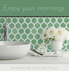 Bring some color into your morning routine with this delicious spring green tile. Color Tile, Spring Green, Routine, Tiles, Mosaic, Bright, Colorful, Design, Room Tiles