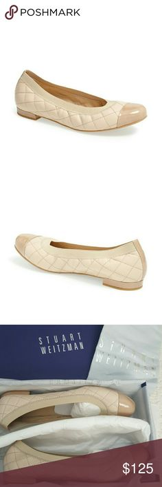 ADORABLE STUART WEITZMAN QUILTED NAPPA BALLET FLAT Brand new in box.  Quilted nappa ballet flats. Nude pan nappa. Leather upper, rubber sole. Cap toe. Size 8.5. Dust bag included. Stuart Weitzman Shoes Flats & Loafers