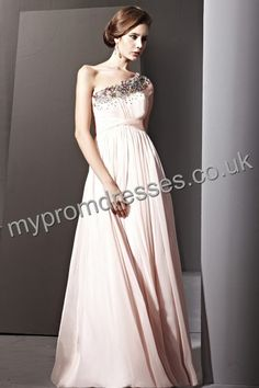 Floor Length One-shoulder Pink Chiffon A-line Evening Dress  http://www.mypromdresses.co.uk
