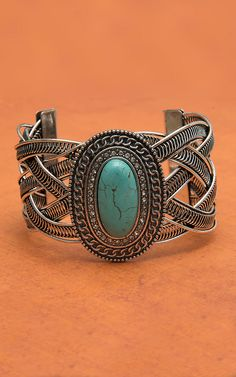 West & Co Silver Braided with Oval Concho Center with Turquoise Stone and Rhinestones Cuff Bracelet
