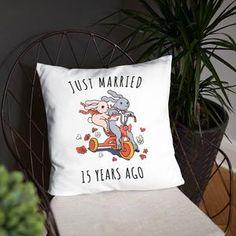 Just Married 6 Years Ago - Ideal Iron Wedding Anniversary Couple Bunnies Basic Pillow Gift shop now! 11th Wedding Anniversary Gift, Anniversary Gifts For Couples, Anniversary Plans, Anniversary Surprise, Gift Wedding, Bronze Wedding, Platinum Wedding, Ivory Wedding, Crystal Wedding