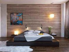lit au sol chambre bois design