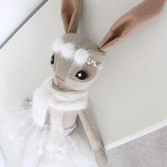 Polka Tutu, Hand-Knit Angora & PomPom Hebe Hare - Thicket & Thimble