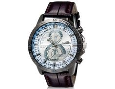Stylish Round White Dial Analog Watch with Faux Leather Strap Wrist Watch Designed for Men $10.93 #eozy