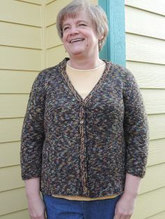 """jmhknits on Ravelry says: """"I put a simple cable on the front and neckbands and then highlighted it with a crocheted chain."""" Beautiful detailing on the buttonbands, and it fits her perfectly. The neck depth is spot-on! #makewearlove"""
