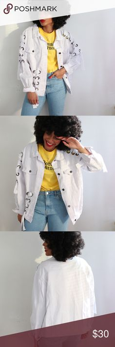 Lace Up + Eyelet Oversize Denim Jacket Oversized denim jacket featuring lace up detailing on the sleeves and down the front (right side) Boohoo Jackets & Coats Jean Jackets