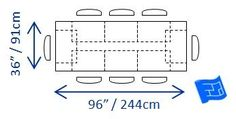 Overlapping dining areas on a table to seat 8.