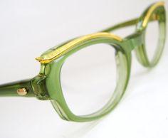 Vintage Green Cat eye Eyeglasses Sunglasses by Vintage50sEyewear, $89.00