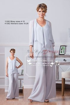 New style Mother of the bride pant suits three piece pale blue chiffon outfit nmo-220