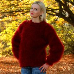 Fuzzy 100% hand knitted mohair sweater in burgundy red, size S, M, L, XL