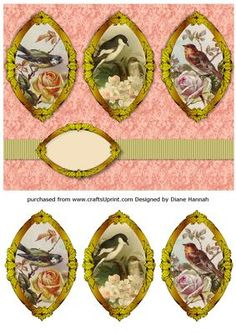 Birds Triptych on Craftsuprint designed by Diane Hannah - Three images of birds on a fancy gold frame. Includes a ribbon, text tag, and decoupage frames. - Now available for download!