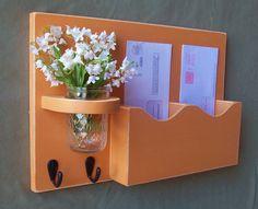 Mail Organizer - Mail and Key Holder - Letter Holder - Double Slots - Key Hooks - Jar Vase - Organizer - Painted Distressed Wood on Etsy, $29.95
