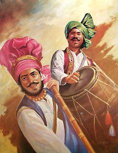 Bhangra Dancers from Punjab - People Posters (Reprint on Paper - Unframed) Indian Artwork, Indian Art Paintings, Indian Folk Art, Punjab Culture, Festival Paint, Composition Painting, Dance Paintings, India Art, Art Drawings