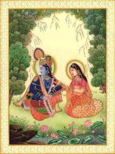Krishna Radha Spiritual Art Handmade Contemporary Hindu Miniature Decor Painting - Contemporary Art - Ideas of Contemporary Art Mughal Paintings, Indian Art Paintings, Radha Krishna Love, Radhe Krishna, Shree Krishna, Rajasthani Art, Indian Folk Art, Lord Krishna Images, Traditional Paintings