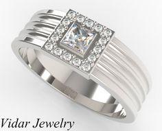 Men's Princess Cut Diamond Wedding BandUnique by Vidarjewelry, $2299.00
