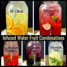 "infused water recipes An easy formula for making a variety of fruit and herb infused waters. Say goodbye to soda, juice, & bottled water with these refreshing ""spa water"" flavors! Healthy Water, Healthy Drinks, Healthy Detox, Healthy Recipes, Healthy Food, Nutrition Drinks, Vitamin Water, Superfood, Flavored Water Recipes"