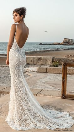 galia lahav gala 2017 bridal sleeveless deep plunging v neck full embellishment elegant sexy lace fit and flare sheath wedding dress open low back chapel train (802) mv bv -- Gala by Galia Lahav 2017 Wedding Dresses