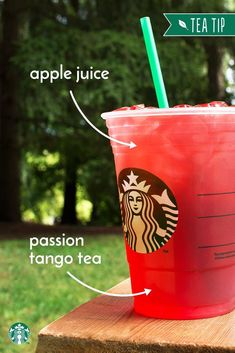 For a palate-pleasing blend of Hibiscus and Apple, ask your Starbucks barista to swap Apple Juice for the Lemonade in your Teavana Shaken Iced Passion Tango Tea Lemonade. For a palate-pleasing blend o Healthy Starbucks Drinks, Starbucks Secret Menu Drinks, Starbucks Calories, Refreshing Drinks, Fun Drinks, Beverages, Starbucks Refreshers, Starbucks Hacks, How To Order Starbucks