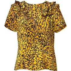 JUICY COUTURE Tumeric Leopard Print Silk Top ($87) ❤ liked on Polyvore featuring tops, pll, t-shirts, juicy couture, round neck top, ruffle top, yellow silk top and tiger print top