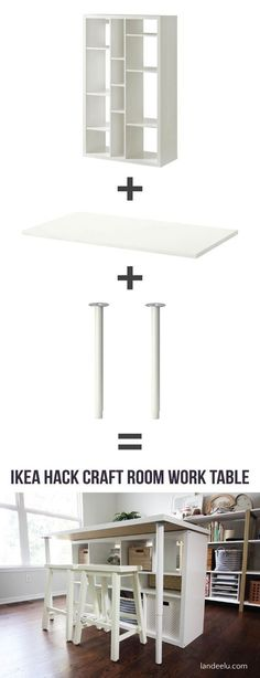 This is a great DIY Ikea Hack Craft Room Table! I tried to figure … This is a great DIY Ikea Hack Craft Room Table! I tried to figure … Craft Room Tables, Ikea Craft Room, Craft Room Storage, Diy Table, Storage Ideas, Craft Rooms, Ikea Storage, Cube Storage, Ikea Table Hack