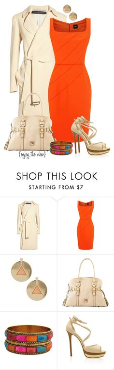 """""""Brightly Bold contest entry #1"""" by enjoytheview ❤ liked on Polyvore featuring Roland Mouret, Oasis, Dooney & Bourke, Forever 21, Elie Saab, dress, bold, coat, bright and heels"""