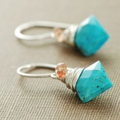 Turquoise Sunstone Earrings Wrapped in Sterling Silver by aubepine, $41.00