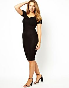 Image 4 of ASOS CURVE Exclusive Midi Body-Conscious Dress with Short Sleeve