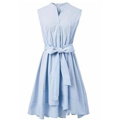 Chicwish Summer Bliss Blue Stripes Flare Dress (230 PLN) ❤ liked on Polyvore featuring dresses, blue, pastel dresses, blue stripe dress, summer dresses, ruched dress and striped summer dress
