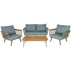 Hayes 4 Piece Lounge Setting Hard wearing polywood with powder-coated aluminium frame loungers and coffee table. Throw cushions not included. Mix & Match not available with this set Outdoor Sofa, Outdoor Living, Outdoor Furniture Sets, Outdoor Decor, Throw Cushions, Table Throw, Lounge, Cottage, Mix Match