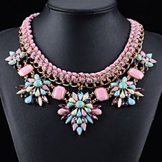Pink Rhinestone Statement Necklace Beautiful and new! Jewelry Necklaces