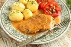 Sznycle z szynki w sosie pomidorowo-koperkowym Food Design, Cantaloupe, Mashed Potatoes, Eggs, Meat, Chicken, Fruit, Breakfast, Ethnic Recipes