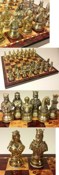 Contemporary Chess 40856: Large Pewter Metal Medieval Times Crusades Busts Chess Set Cherry Color Board -> BUY IT NOW ONLY: $399.95 on eBay! Kings Game, Colour Board, Board Games, Chess Set Unique, Game Of Thrones, Puzzle, Contemporary, Play, Chess Boards
