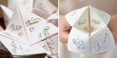 Cootie Catcher Menu Template - fantastic idea to keep your wedding guests busy while they wait at the reception for you to arrive from your wedding album photography.