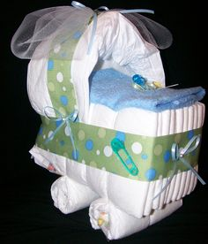 diaper centerpieces for baby shower | Bassinet Diaper Cake Baby Boy Shower Centerpiece Green Blue Dot