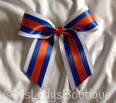 Orange Royal Blue White Cheer Bow on Etsy, $8.00