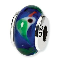 Goldia Sterling Silver Reflections Green Dichroic Glass Bead