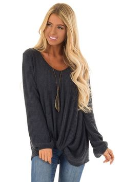 904803831ca9f Slate Blue Long Sleeve V Neck Top with Front Twist Detail - Lime Lush  Boutique Boutique