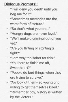 These all sound like hunger games quotes lol These all sound lik. - These all sound like hunger games quotes lol These all sound like hunger games quot - Book Writing Tips, Creative Writing Prompts, Writing Words, Writing Help, Journal Writing Prompts, Writing Ideas, Writing Inspiration Prompts, Writing Prompts Romance, English Writing Skills