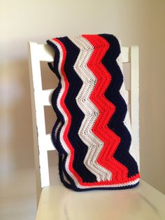 Vintage hand crocheted chevron throw afghan by TheLittleThingsVin