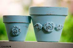 pots with 3D decorations