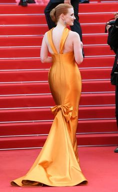 Cannes Film Festival 2017 Best Dresses from the Back - Jessica Chastain in Armani Prive